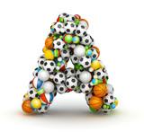 Letter A, gaming balls alphabet
