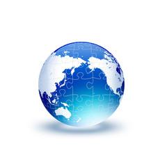 ジグソーパズル模様の地球儀