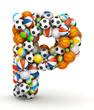 Letter P, gaming balls alphabet