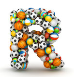 Letter R, gaming balls alphabet