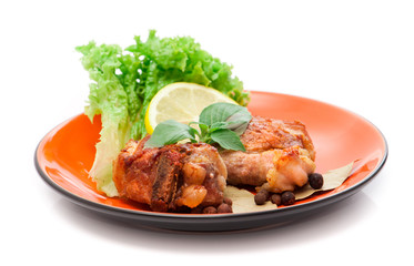 grilled meat with a lemon