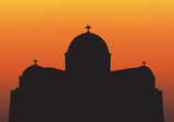 A Big Greek Orthodox Church Silhouette at Sunset