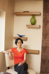 Japanese woman sitting in chair
