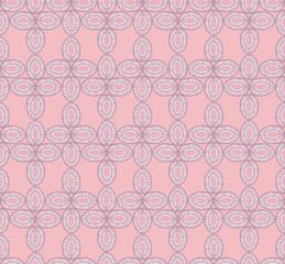 seamless pattern with lacy flowers on pink background