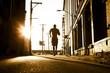 African American man jogging