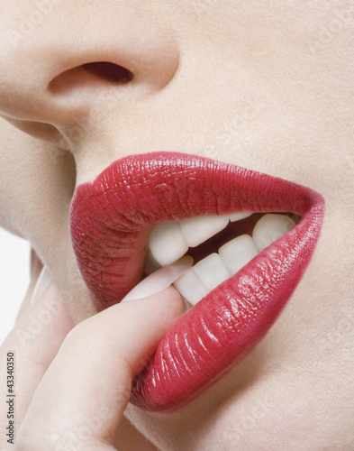 Close up of glamorous Caucasian woman's lips