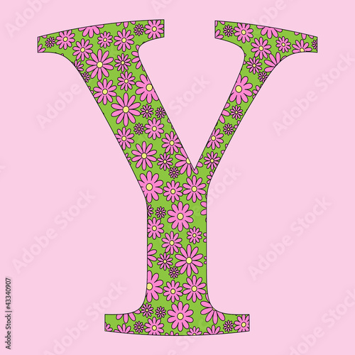 Flower Alphabet Font Vector Illustration