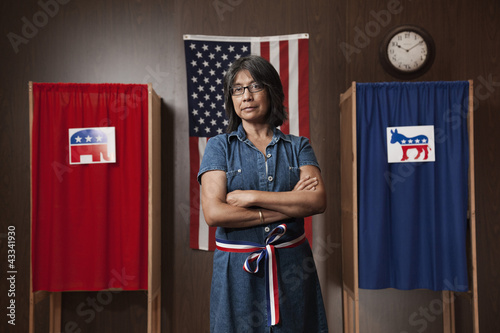 Filipino voter waiting to vote in polling place