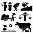 Farm Farmer Worker Farming Icon Symbol Sign Pictogram