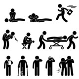 First Aid Rescue Emergency Help CPR Medic Saving Life Pictogram poster
