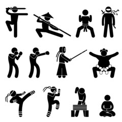 Chinese Wushu Ninja Boxer Kendo Sumo Muay Thai