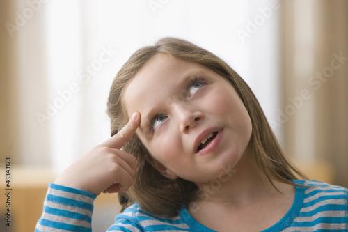 Caucasian girl thinking