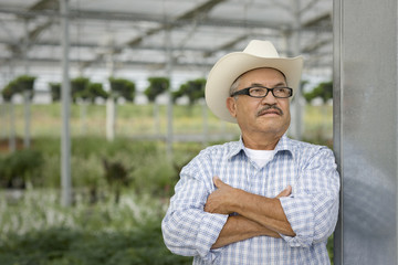 Hispanic man standing in greenhouse