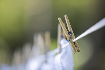 Close up of clothespin on clothes line