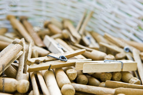 Close up of clothespin in basket