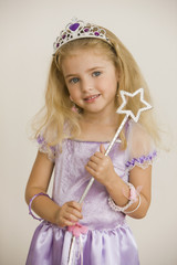 Caucasian girl dressed as princess