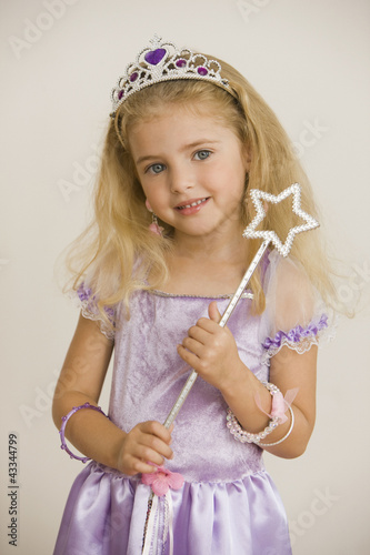 Caucasian girl dressed as princess