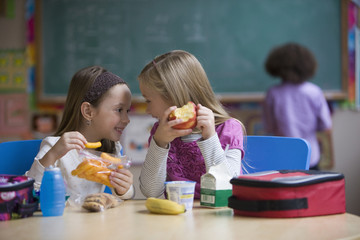 Students eating lunch in classroom