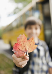 Caucasian boy holding autumn leaf