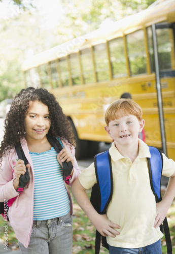 Children waiting for school bus