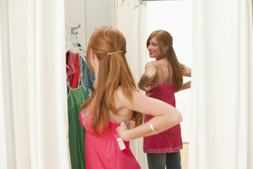 Caucasian teenage girl in dressing room