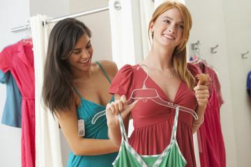 Caucasian teenage girls in dressing room