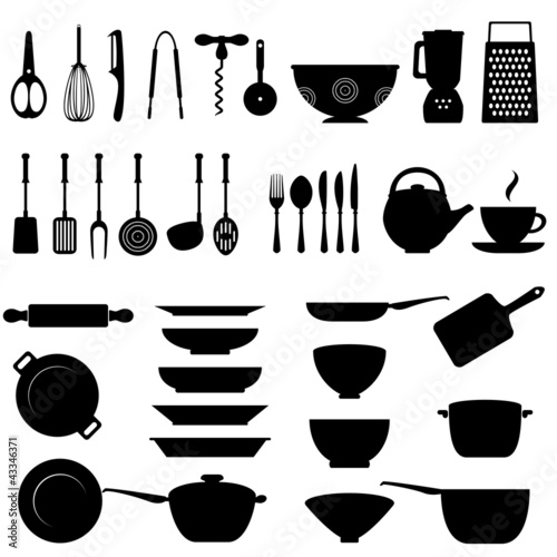Kitchen utensil icon set