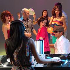 woman dj entertaining crowd in night club