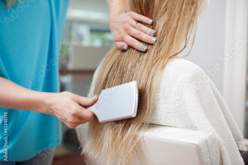 Beautician Combing Hair Of Customer
