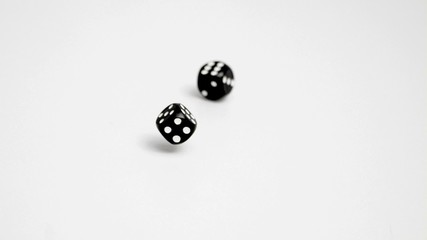Double six in slow motion with dices