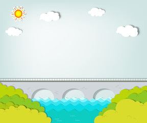 Vector applique. Landscape with bridge