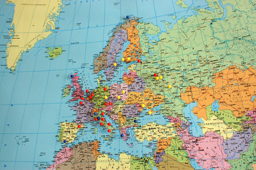 Europe Map With Travel Pins