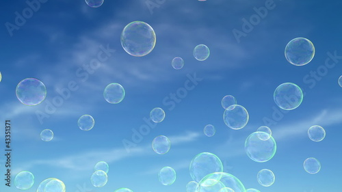 Soap bubbles floating around.