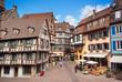 Scène urbaine dans la ville de Colmar , Alsace (Fr).