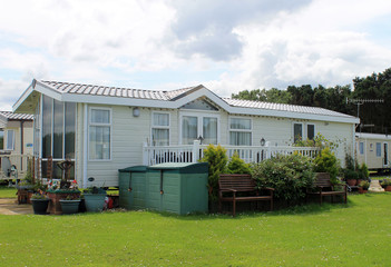 Modern static caravan on campsite