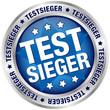 """Button """"Testsieger"""" blau/silber"""