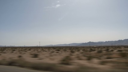 Driving Shot on a Highway through the dessert