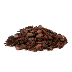 Crushed chocolate shavings pile