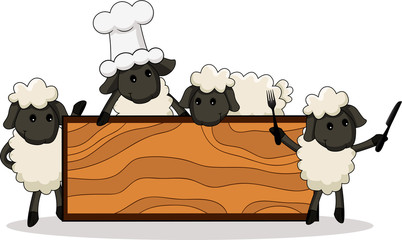 cute lamb cooks with diverse characters with board