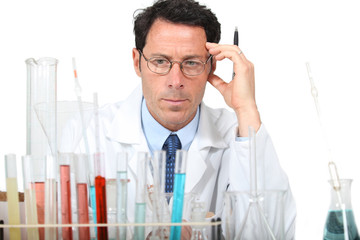 Scientist with test tube rack