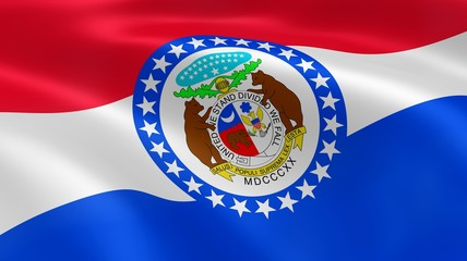 Missourian flag in the wind