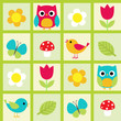 Seamless vector pattern with birds and flowers