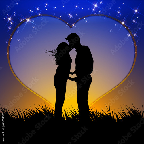 couple in love - vector template