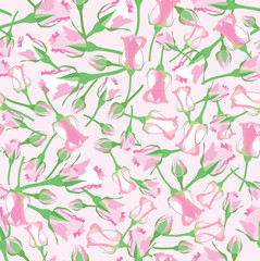 seamless pattern with pink and lilac roses on white, Print