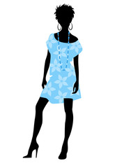 Girl in blue dress silhouette