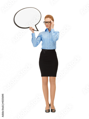 pensive businesswoman with blank text bubble