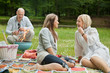 Happy Friends On An Outdoor Picnic