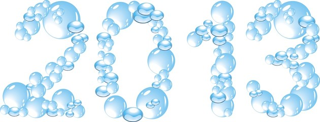 water bubbles letters 2013 isolated on white