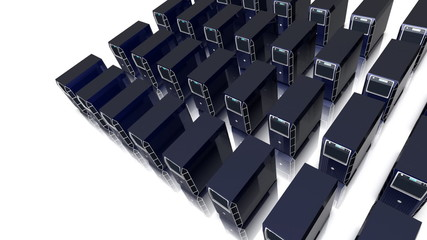 Camera moves round an array of pc servers.