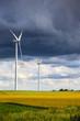 Dark rain clouds on wind power installations.